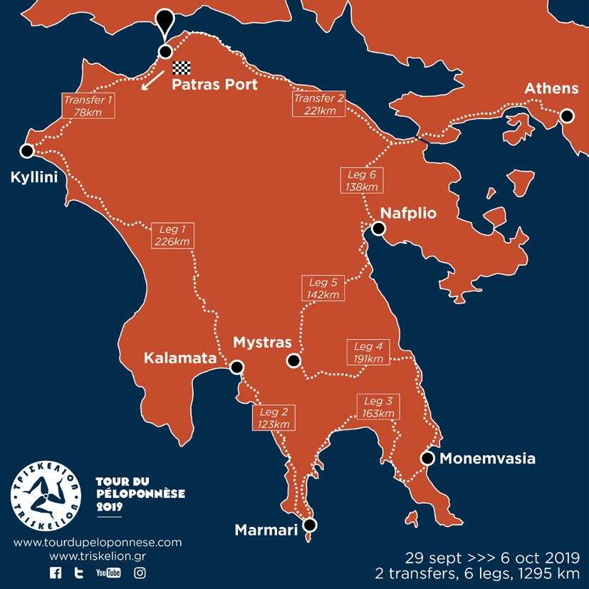 Percorso Tour del Peloponneso 2019 Mappa informazioni